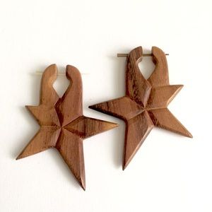 Jewelry - Sola wood hand carved wood large star earrings